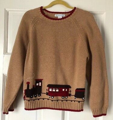 Janie and Jack Boy's Tan & Red Train Cotton Blend Sweater Sz 8 ()