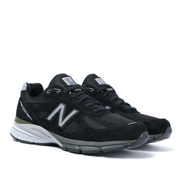 Mens New Balance Made In The US 990V4 Black With Charcoal Suede Trainers