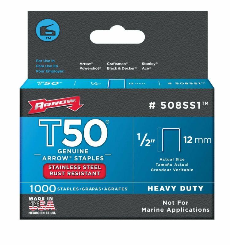 "Arrow Fastener 508SS1 Stainless Steel T50 Staples, 1/2"""