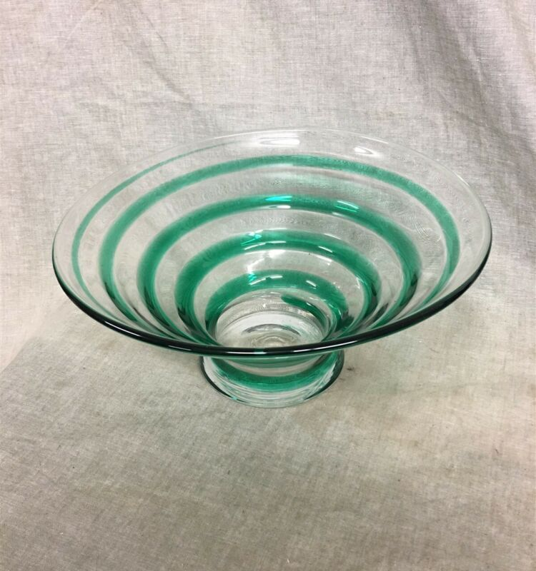 """Large 12"""" Art Glass Green Swirl Footed Center Bowl Hand Blown"""