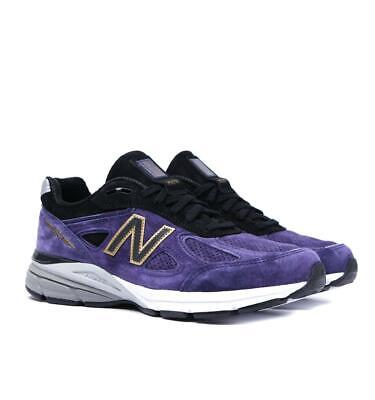 Mens New Balance 990v4 Made in US Black with Wild Indigo Trainers Purple Sneaker