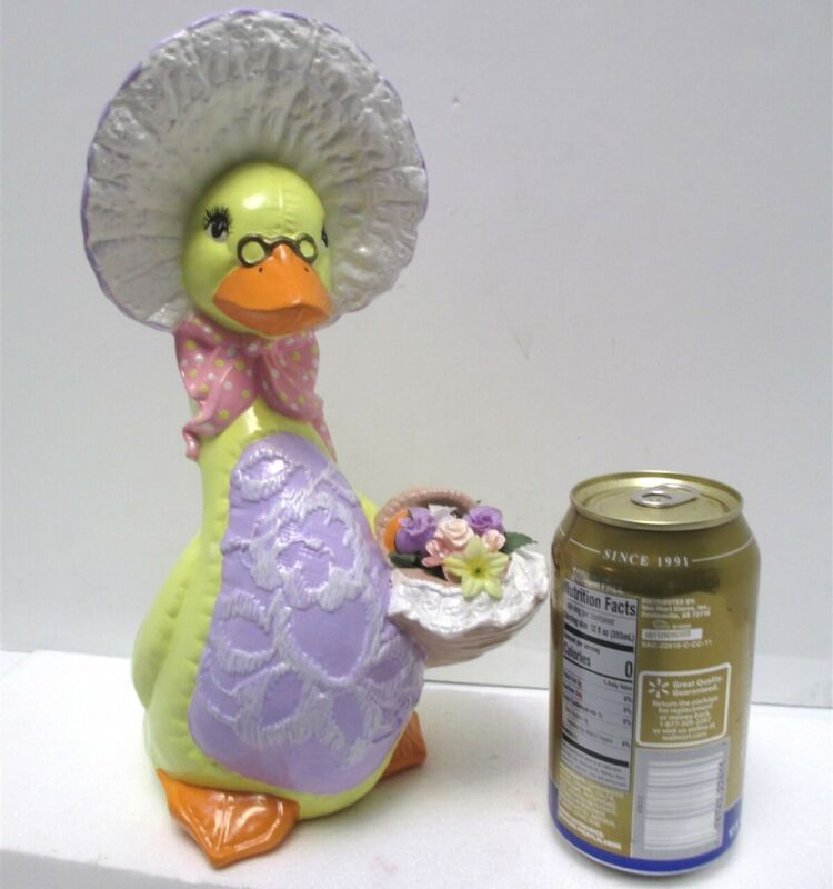 """Vintage Ceramic Mama Duck in Bonnet with Flower Basket 10.5"""" Tall Easter Spring"""