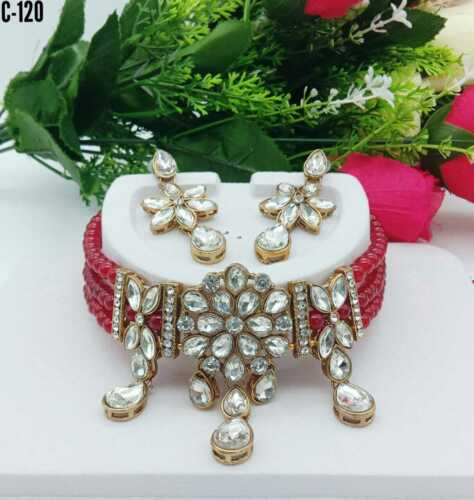 Indian Pearl Beads Gold Tone Bridal Fashion Jewelry Necklace Earring Set