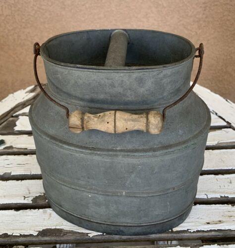 Vintage French Zinc Fishing Creel Bait Bucket with Wood Wire Swing Handle