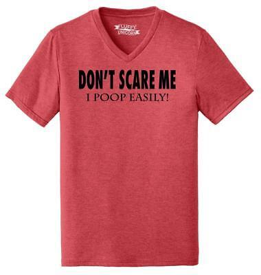 Mens Don't Scare Me I Poop Easily Funny Poop Halloween Shirt Triblend - Halloween Funny Scares