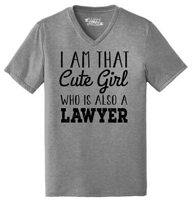 Mens I'm That Cute Girl Also Lawyer Triblend V-Neck Law School College