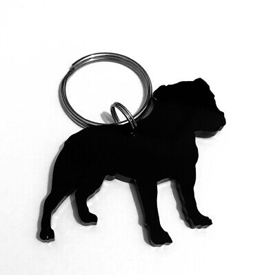 Staffordshire Bull Terrier Staffie Black Keyring Bag Charm Gift