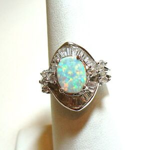 Opal and White Topaz Gemstone Ring, 925 Pure Sterling Silver, size 6, Oct. BS