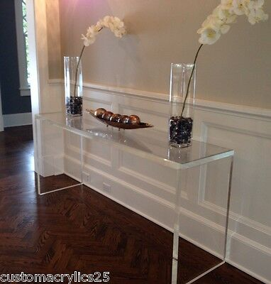 "Handcrafted Acrylic Console table, 1.5"" thick, straight legs - 48x15x30"