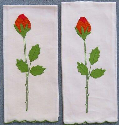 2 Benjamin M. Jabara & Sons.Madeira Embroidered Towels Long Stemmed Roses Buds -