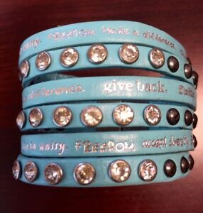 Humanity Inspire with Kindness Cuff Bracelet w Studs Crystals Baby Blue