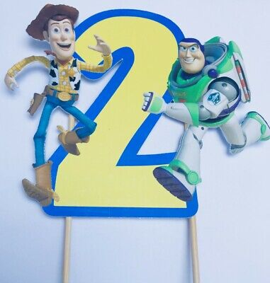Toy Story Woody & Buzz Birthday Number Cake Topper Non Edible (Toy Story Cake Topper)