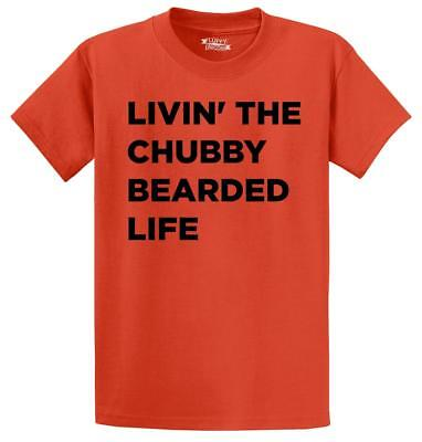 Mens Livin The Chubby Bearded Life T-Shirt Boyfriend Husband  Shirt