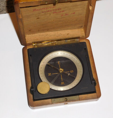Vintage Stoppani Compass In Wood Box