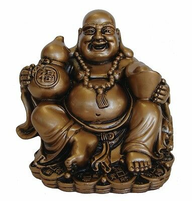 Golden Chinese Laughing Buddha with Wu Lou Statue ()