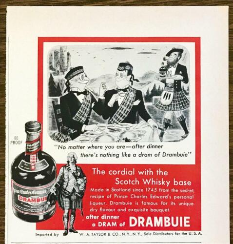1955 Drambuie Scotch Whisky Cordial PRINT AD Scotsmen in Kilts Cartoon