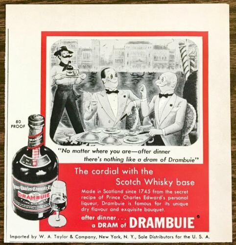 1955 Drambuie Liqueur PRINT AD No Matter Where You Are Venice Gentlemen Cartoon