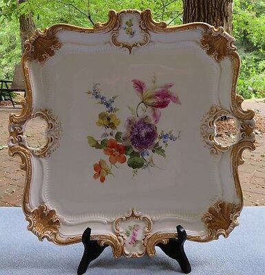 Amazing Meissen Floral Huge Square Service Tray Heavy Gold W Crossed Swords