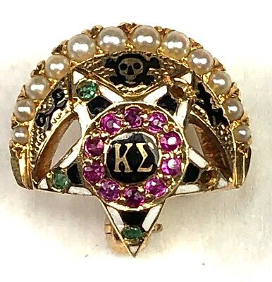 Kappa Sigma Fraternity Pin,1929, Pearls, Rubies and Emeralds, 3.4g, $4 ships