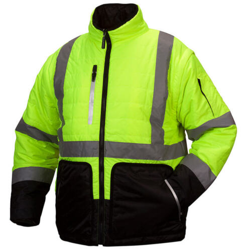 Pyramex RJR33 Hi-Vis Reversible Safety Jacket Road Work High Visibility
