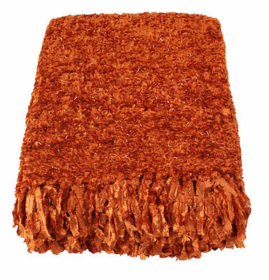 Terracotta Sparkle Weave Large Throw