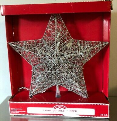 Holiday Time Light-Up Silver Filigree Christmas Tree Topper Star 13.5 Inches