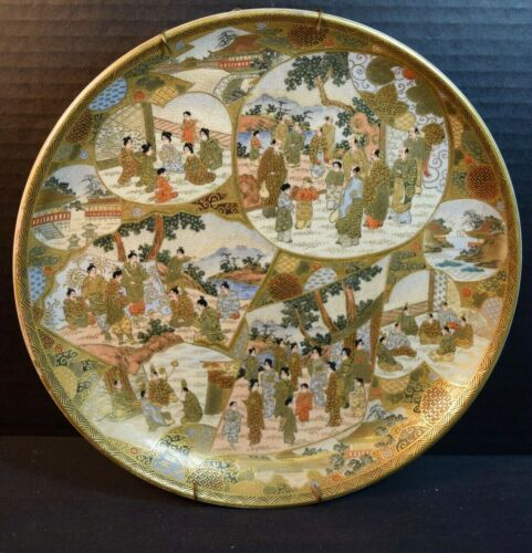 Satsuma Japanese Pottery Plate with Many Figures