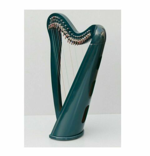 New 22 Strings Green Round Shape Harp with Levers, Extra String Set & Soft Bag