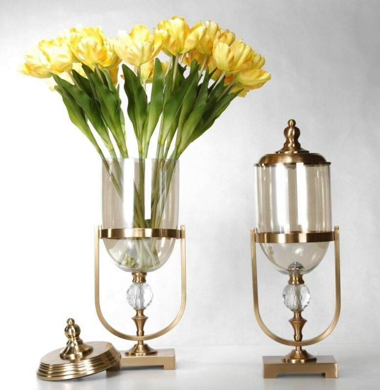 Gold Set of Two Lidded Vases Accessories Urn Bowls