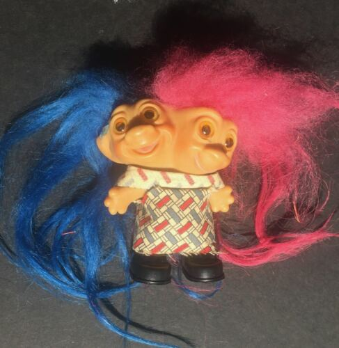 """1965 Uneeda 2 Headed Troll Doll Original Clothes AND Shoes 3"""" Excellent Shape"""