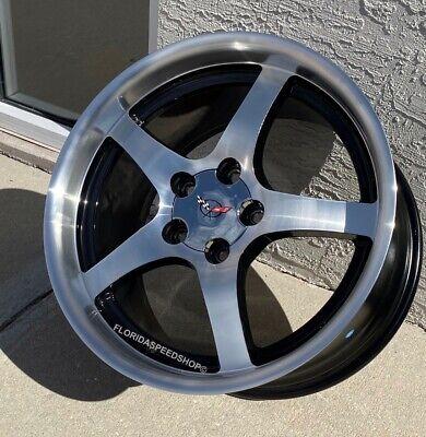 C5 Deep Dish Style Machined face/black vent Corvette Wheels 17X9.5/18X10.5