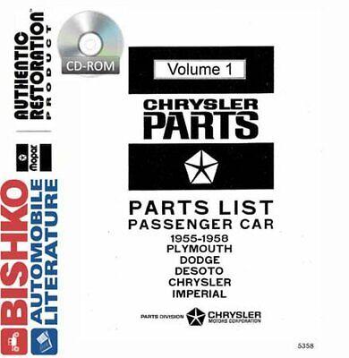 OEM Parts Book CD Mopar Chrysler/Dodge/Desoto/Plymouth 1955-1958 Dodge Oem Parts Cd