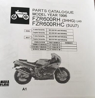 YAMAHA FZR 600 RH 3HHG RHC 3UU7 PARTS LIST MANUAL CATALOGUE 1996 paper copy.