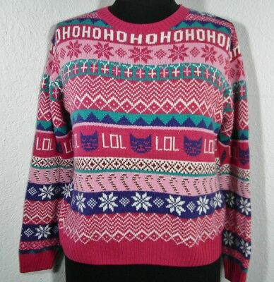 Ugly Funny Christmas Xmas Sweater Party Crazy Cat Kitten Lady Womens Pink LOL HO (Ugly Cat Sweater)