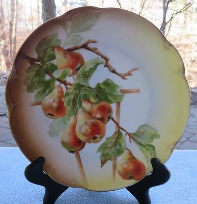 JHR Bavaria Hand Painted Plate Pears, Fruit And Branches Gold Trim