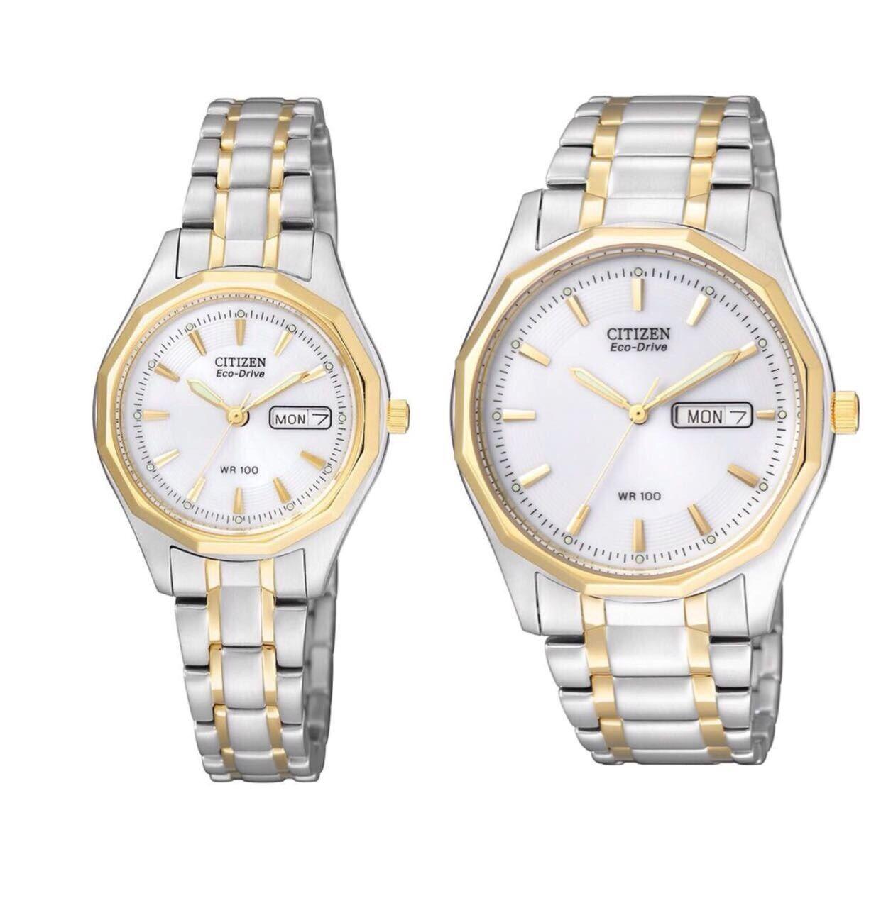 Citizen Uhren für Paare Solar Bicolor Partnerlook Gold Silber Datum Damen Herren