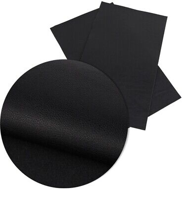 Black Solid Faux Leather Sheets, Faux Leather, A4 Vinyl Fabric Sheet