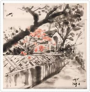 The cherry in the spring. (Water ink painting )