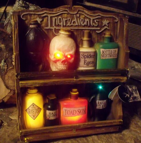 HALLOWEEN HAUNTED HOUSE ANIMATED LIGHTS WITCH SPICE RACK SKULL POTION SOUND PROP