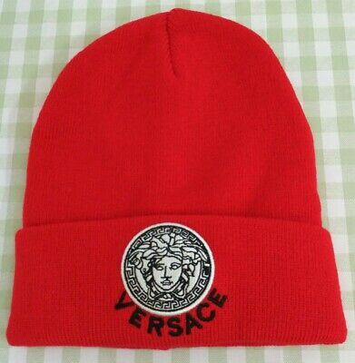 Unisex VERSACE Beanie Cap Outdoor Indoor Hat Red