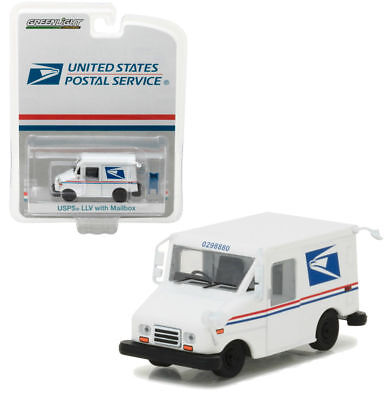 Greenlight 1 64 Usps Postal Service Long Life Vehicle Llv Mail Truck W  Mailbox