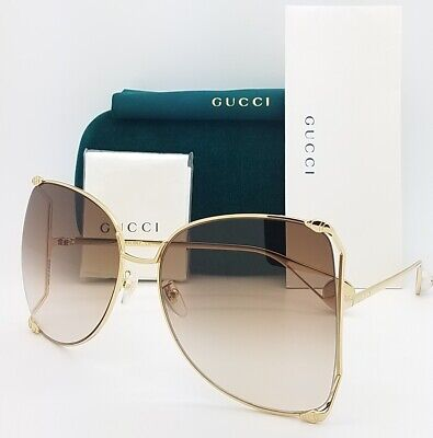 New Gucci Butterfly sunglasses GG0252S 003 63 Gold Brown Gradient AUTHENTIC (Gucci Butterfly Sunglasses)