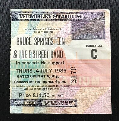 BRUCE SPRINGSTEEN 1985 BORN IN THE USA CONCERT TICKET STUB Wembley Stadium UK