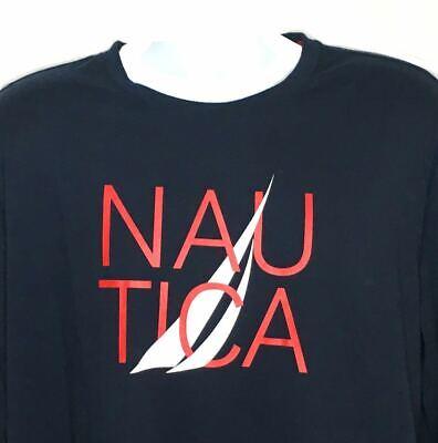 Nautica Mens Sz XL Spellout Graphic T-Shirt Long Sleeve Navy Crew Neck