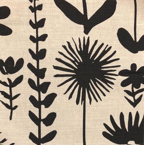 SCHUMACHER Vera Neumann Wild Things Black White Floral Cotton Linen Remnant New