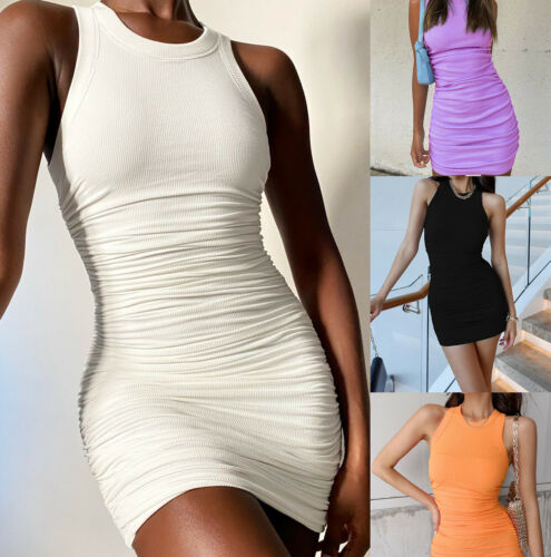 Women Sexy Bodycon Elegant Stretch Sleeveless Dress Cocktail Party Club Jumper