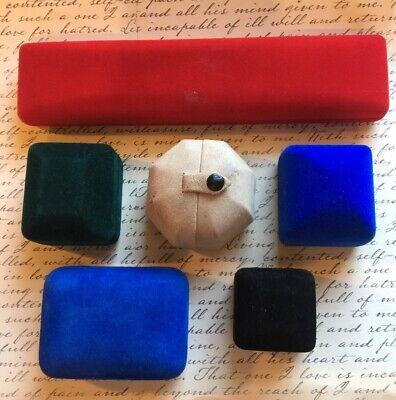 JOBLOT of 6 OLD VINTAGE Velvet JEWELLERY BOXES for Bracelet & Rings etc.