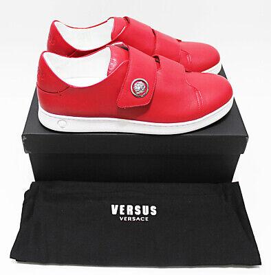 NIB VERSACE VERSUS Lion Medallion Badge Red Leather Low Top Sneakers 42-EU 9-US