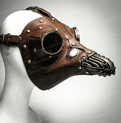 Plague Doctor Bird Steampunk Wedding Halloween Masquerade Mask Brown Gold Adult