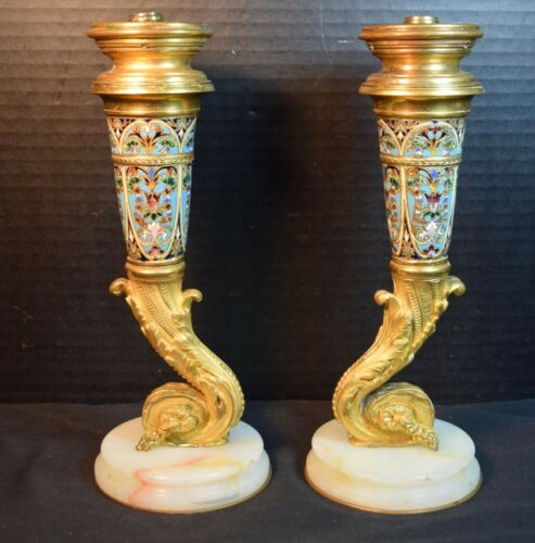 Antique Pair of Gilt (Dove) Bronze Champleve Candlestick Lamp Bases